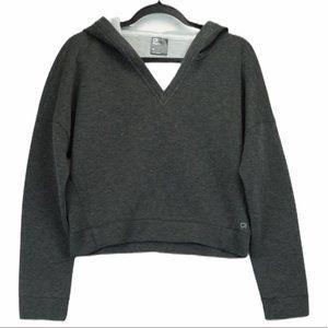 Gapfit medium grey V neck cropped hoodie